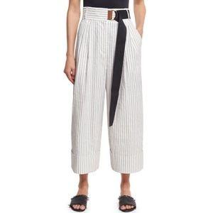 Tibi Cecil striped culotte crop linen belted pants